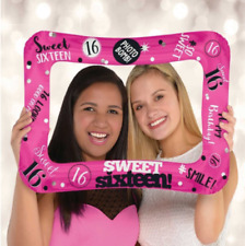 16TH BIRTHDAY SIXTEEN - SWEET 16 INFLATABLE BALLOON FRAME SELFIE FUN - AIR FILL