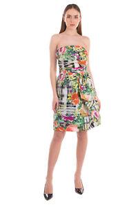 RRP€3100 OSCAR DE LA RENTA Sheath Dress Size 12 / L Silk Lined Patterned Bandeau