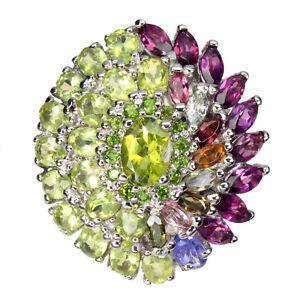 Unheated Oval Green Peridot 7x5mm Tourmaline Gems 925 Sterling Silver Ring Sz 8
