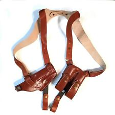For Colt 1911 Leather Horizontal Shoulder Holster ( RH ) With Double Magazine