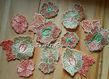 10pcs Daisy Flowers & Leaves Mix Embroidered Mesh Lace Applique Patch Motif