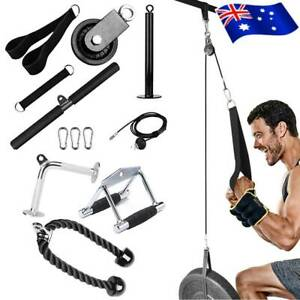 Fitness Dip Weightlifting Handle Bar Pulley System DIY Home Training Gym Kits AU