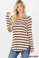Brown Striped Long Sleeve Boat Neck Elbow Patch Tee Shirt Top Blouse Small-3x