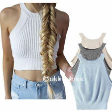Regular Size Cotton Blend Solid Crop Tops for Women