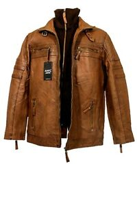 AIAKU Men's Buffalo  Leather Brown Jacket With a Rib Knit Collar Insert