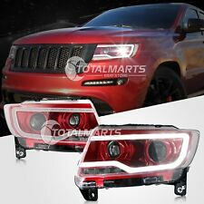 HID Headlights For 2011-2013 Jeep Grand Cherokee Bi-xenon Projector Lamps red