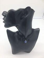 Black Necklace Choker With Light Blue Glitter Ball Pendant