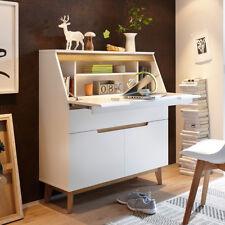 Sekretär Cervo skandinavische Kommode mit Schreibtisch weiß matt und Asteiche