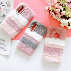 New Hot Fashion Color Splicing Girl Warm Plush Soft Case Cover For Various Phone
