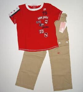 Eckored Khaki Cargo Pants & Pepe London Red Shirt Girls Size 5 Ecko Red Pepe NWT