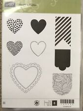 NEW Stampin' Up Hearts A Flutter Clear Mount Stamp Set Valentine Tag Lace Ribbon