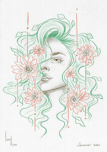 original drawing A4 416KV art samovar Colored Pencil woman sketch Signed 2021
