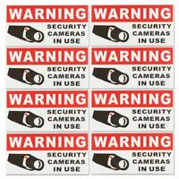 Security Notice Decal Camera Sign Sticker 24Hour Video Surveillance 8Pcs Red
