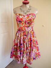 SPORTSGIRL Whtie Orange Pink DRESS Size 10 Floral Strapless Party Wedding Races