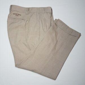 Men's Hugo Boss Golf Brown Windowpane Plaid Cotton Pleated Cuffed  Pants 31 x 27