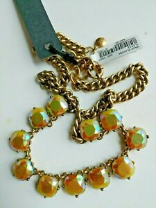 """J.CREW Colorful Aurora crystal necklace Yellow orange Gold Cabochon 18""""chain NWT"""