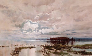 W C Piguenit - The Flood in the Darling 1890, Australian Art, Canvas Print
