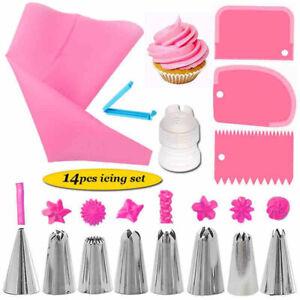 14Pcs Piping Tips Pastry Icing Bag Baking Cake Decorating Kit Set Nozzles Tool