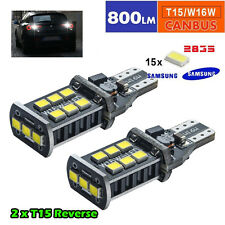 2x WHITE REVERSE BULBS 15 SMD 194 921 T15 W16W LED car brake stop light