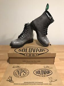 NPS SOLOVAIR Lunar Grey Hi-Shine 8 Eye Derby Boots! Size UK11! New!Only £149.90!