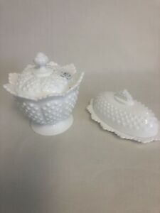 Signed Fenton, Milk Glass, Hobnail, Pedestal Footed Covered Candy & Butter Dish
