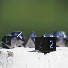 Easy Roller - 16mm Gun Metal RPG Polyhedral Dice (Set of 7) - Purple Numbering