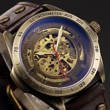Steampunk Automatic Mechanical Men's Watch Skeleton Dial Steel Case Leather Band