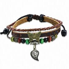 Bracelet en cuir marron réglable avec breloque papillon fantaisie feuille d'auto
