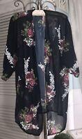 NEW Plus Size 2X 1X Blue Pink Floral Boho Open Cardigan Jacket Topper