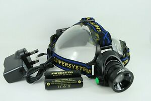 "Snipersystems ""Cyclops 2"" rechargeable head torch with zoom focus 1600 lumens"
