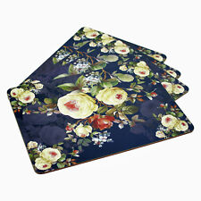 Set of 4 Rose Blossom Dinner Table Placemats Cork Backed Home Kitchen Place Mats