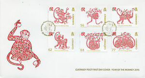 Guernsey 2016 FDC Year of Monkey 6v Set Cover Chinese Lunar New Year