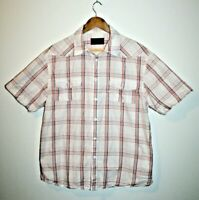 Wrangler Original Styling Men's Short Sleeve Cotton Shirt White Checked Size XL.