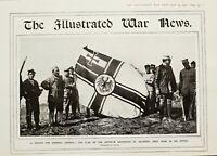 1916 WWI WW1 PRINT FLAG OF ZEPPELIN DESTROYED AT SALONIKA TROPHY GENERAL SARRAIL
