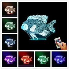 Sea World Fish Design 3D illusion USB Color Changing Lamp LED Desk Night Light