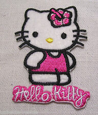 ÉCUSSON PATCH BRODÉ thermocollant - CHAT KITTY ROSE ** 5 x 7 cm **