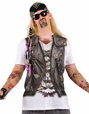 Mens Biker Vest Costume T-shirt Funny Tee Tattoo Sleeve Sleeves Rocker Tshirt