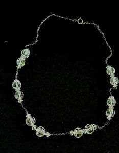 Antique crystal and 925 silver necklace choker bridal minimalist stunning