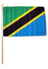 """12x18 12""""x18"""" Tanzania Stick Flag wood Staff"""