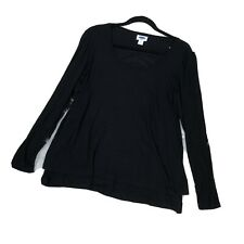 New Old Navy Maternity Top Womens Lg Black Soft Knit Long Sleeve Layered Scoop