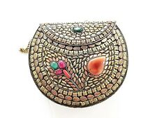 Indian Wedding Ethnic Sling Bag Clutch Copper Silver Multi Color Stones Round