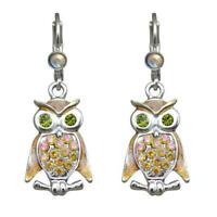 Kirks Folly Baby Owl Leverback Earrings (Silvertone) with Kirks Folly Gift Box