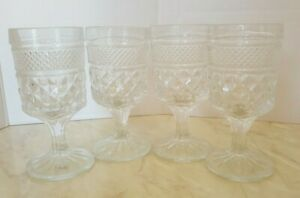 4 ANCHOR HOCKING WEXFORD GOBLETS JUICE GLASSES 4.5 INCHES HOLDS 4 OZS