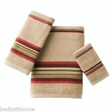 New - Madison Stripe Red 3pc Towel Set by Saturday Knight