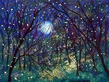 Giclee canvas PRINT - Summer  moon & Fireflies -16 x 20 x 7/8