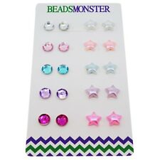 Color Rhinestone Star Beads Magnetic Clip-on Stud Earrings Set for Kids Girls