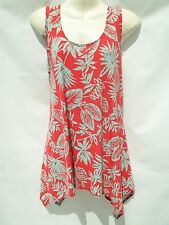 "JOSTAR ""NEW"" LONG TANK  POINTED  SIDE TOP       SM(C)     RED/TEAL LEAF"