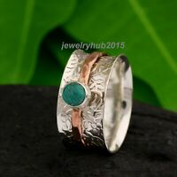 Turquoise Ring Solid 925 Sterling Silver Spinner Ring Handmade  Ring Size bb15