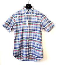 RALPH LAUREN Herren Kurzarm Hemd Button Down Shirt M Kariert Blau Grün UVP €89