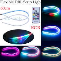 2x 60CM RGB Slim Daytime Flexible LED DRL Turn Signal Strip Remote For Headlight